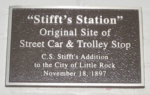 Plaque marking original location of Stifft's Station stop on Pulaski Heights Line. Photo by Broooooooce.