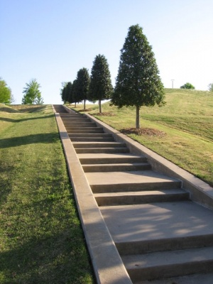 Steps on the grounds of the Clinton Presidential Center. Photo by Sean Oakley.