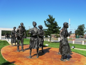 "The Little Rock Nine monument ""Testament,"" on the grounds of the Arkansas State Capitol. Photo by Phil Frana."