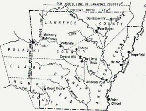 Map of Arkansas counties in 1819.