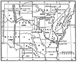 Map of Arkansas counties in 1828.
