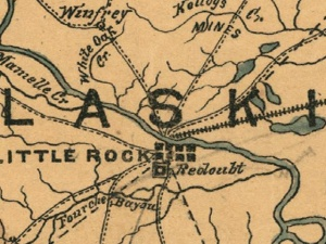 Little Rock on c. 1864 Map of Arkansas & Louisiana by Helmuth Holtz.